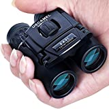 USCAMEL Folding Pocket Binoculars Compact Travel Mini Telescope HD Bak4 Optics Lenes Easy Focus Colour Black
