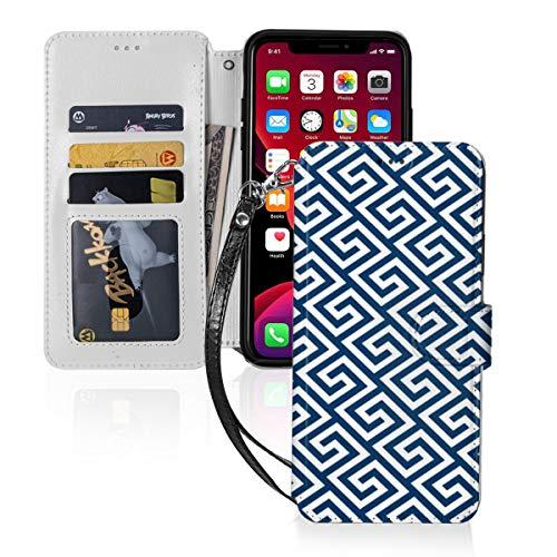 Funda para iPhone 11 PU cuero cartera cubierta cojín clave griega patrón ID efectivo tarjetas de crédito ranuras titular bolsa de transporte folio bolsillo Flip cubierta