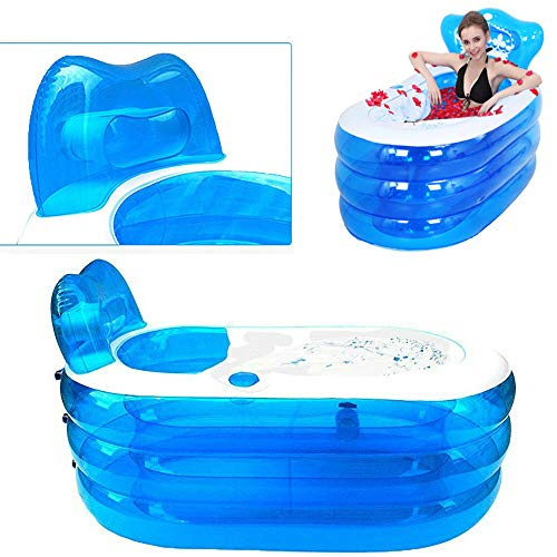 OUKANING Aufblasbare Badewanne Erwachsene Badewanne PVC, Faltbare Plastikbadewanne 121 * 85 * 70cm