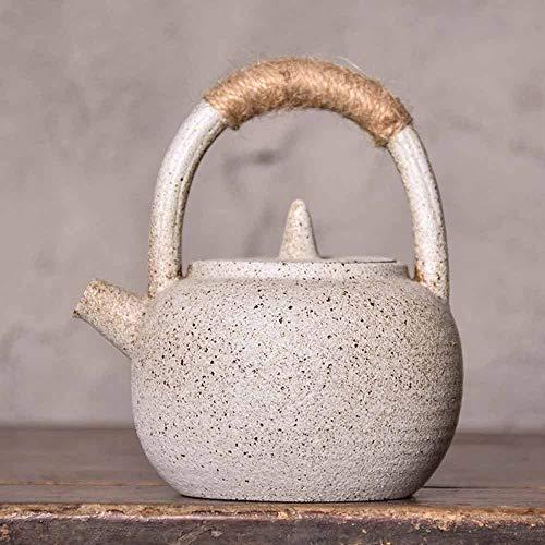 Zoo-Yilchu Tetera, Tetera de cerámica con Mango de Metal, hervidor de té de Hojas Sueltas Estufa del pote del té 200ml (Color : White)