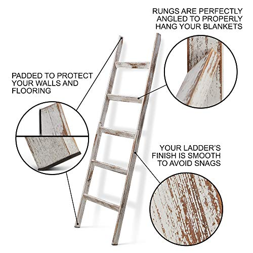 Short Birds Rustic 5ft Blanket Ladder - Farmhouse Home Decor - Quilt/Towels/Throw Wood - Decorative Shelf - Easy Assembly - Leaning - Padded - White Wash
