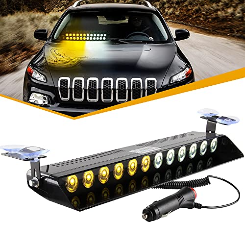 Sidaqi Luz de advertencia estroboscópica de emergencia de camión de coche 12V 12W Brillante Parabrisas Salpicadero Interno Tira de luz de advertencia 12 LED, ámbar blanco ámbar
