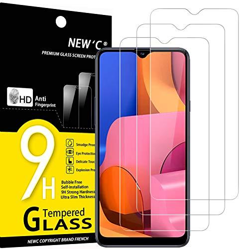 NEW'C 3 Pezzi, Vetro Temperato Compatibile con Samsung Galaxy A20S, Pellicola Prottetiva Anti Graffio, Anti-Impronte, Durezza 9H, 0,33mm Ultra Trasparente, Ultra Resistente