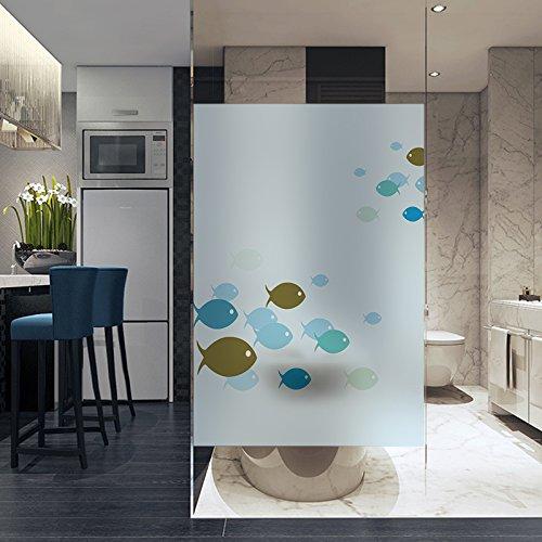 LJIEI Fensterfolie Statikfreien Kunststoff-Mattglas-Fensteraufkleber Auf Glasfenster Fisch Papier Scheinend Opake Glaspaste Angebracht