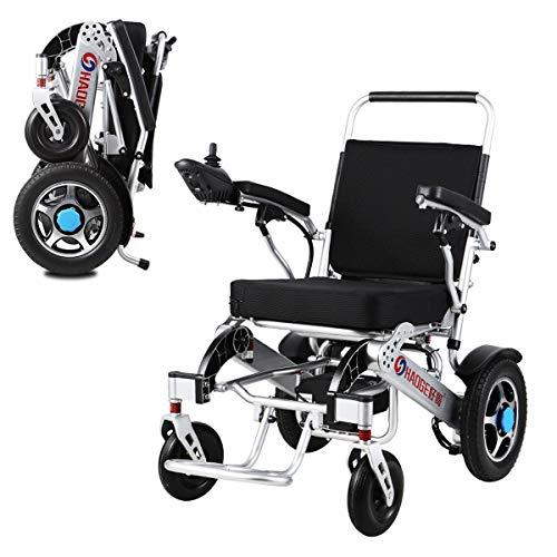 DOS Silla de Ruedas Eléctrica Plegable Silla de Ruedas Eléctrica para Adultos para Pacientes Ancianos, Discapacitados y Hemiplejia