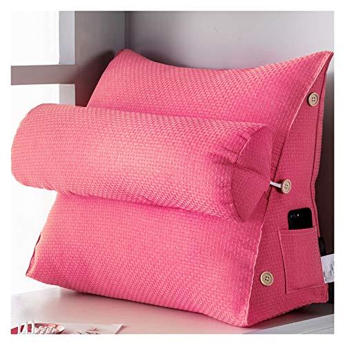 LIQICAI Almohada De Lectura, Cojín De Soporte De Cuña De Altura Ajustable para Oficina En Casa, Diseño De Cremallera, Lavable En 4 Colores, 16 Tamaños Opcionales (Color : Pink, Size : 58x22x50cm)