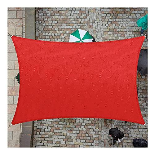 Vela de Sombra para Jardin 3x5m Rectangular Toldo Vela al Aire Libre Jardín Patio Fiesta Protector Solar Toldos Protección Rayos UV Impermeable con Cuerda Libre, Rojo(Size:2.5X3M/8.2X9.8FT)