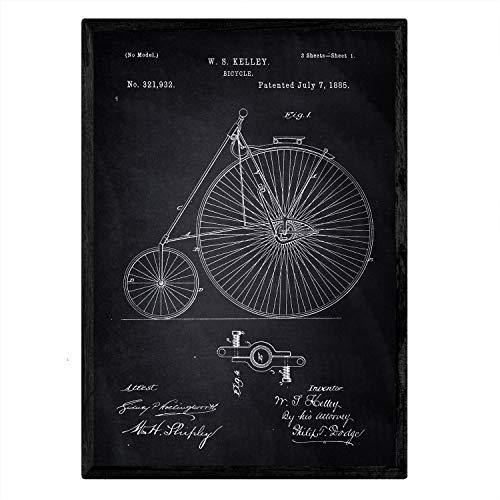 Nacnic patent fiets poster kunst met design 2e patent oud formaat A3 met zwarte achtergrond