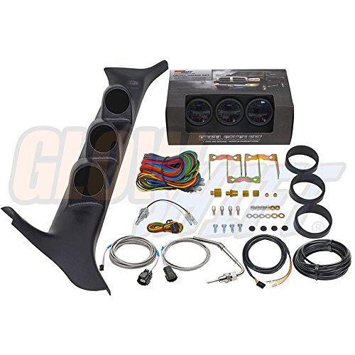 GlowShift Diesel Gauge Package for 1992-1997 Ford F-Series F-250 F-350 7.3L Power Stroke - Black 7 Color 60 PSI Boost, 1500 F Pyrometer EGT & Transmission Temp Gauges - Black Triple Pillar Pod