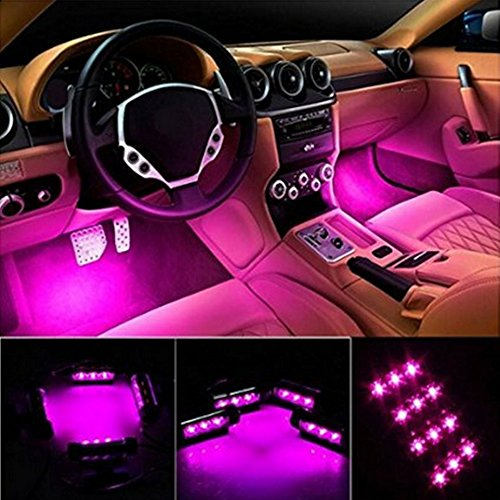 HengJia Auto Parts LED Car Interior Floor Decorative Atmosphere Lights Strip Waterproof Glow Neon Interior Decoration Lamp?pink?