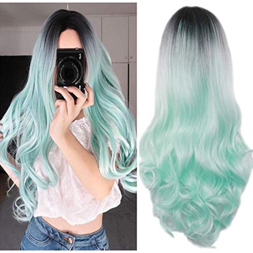 AneShe Ombre Wig Long Wavy 2 Tone Black and Green Ombre Wig Dark Roots Heat Resistant Fiber Full Wigs for Women (Black to Green)