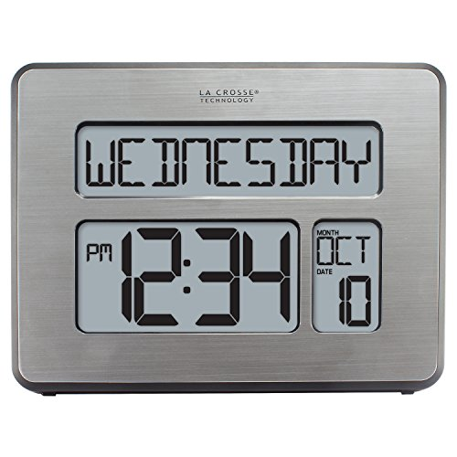 La Crosse Technology C86279 Atomic Full Calendar Clock with Extra Large Digits, Grey, 11.25 in. x 2.10 in. x 12.00 in.