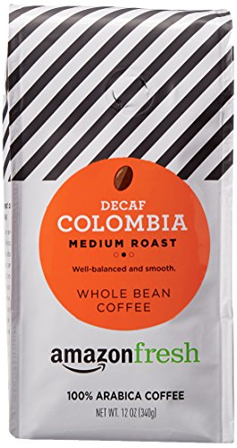 AmazonFresh Decaf Colombia Whole Bean Coffee, Medium Roast, 12 Ounce (Pack of 1)