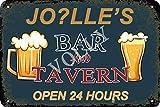 Vvision Jo?lle'S Bar and Tavern Open 24 Hours Cartel de Chapa Metal Advertencia Placa de Chapa de Hierro Retro Cartel Vintage para Dormitorio Pared Familiar Aluminio Arte Decoración