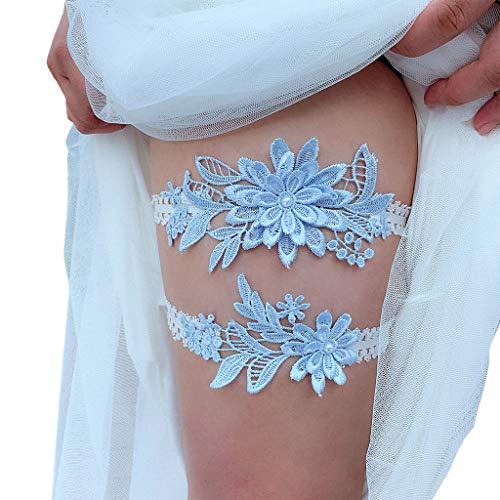 JHD Conjunto de Anillos de Muslo de Encaje elástico Nupcial para Mujer, Apliques de Flores Bordados en Azul Cielo, cinturón de Liga de graduación de Boda de Perlas de imitación de Retazos