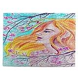 huagu Puzzle 500 Piezas-Rompecabezas Adultos-Acuarela Pintada Retrato Mujer Joven Cereza-Juegos Educativos-Entretenimiento,Niños y Adolescentes,Divertido Regalo