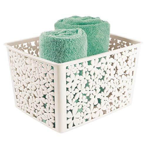 mDesign Grande organizer da bagno per saponi, salviette, accessori per capelli e molto altro – Capiente portaoggetti bagno – Porta oggetti di plastica con motivo floreale – crema