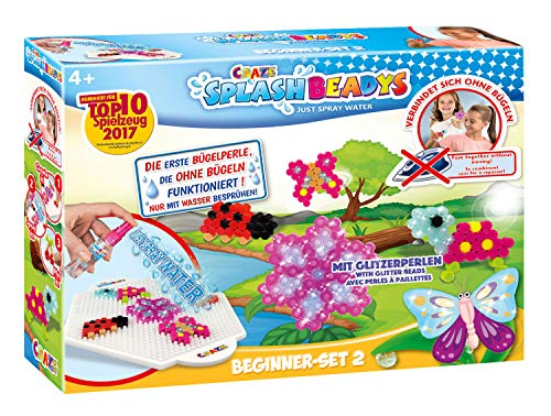 Craze 15308 Bügelperlen Bastelset Steckperlen für Mädchen Splash Beadys-Beginner Set Girls, Mehrfarbig