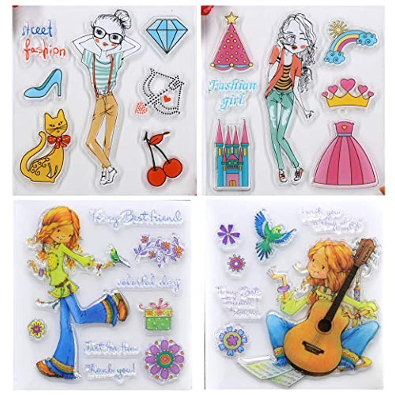 Kwan Crafts 4 Sheets Different Style Fashion Girl Flowers Bird Cat Guitar Clear Stamps for Card Making Decoration and DIY Scrapbooking