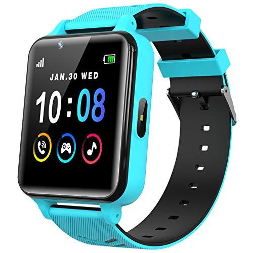 Smartwatch Kinder Telefon für Mädchen und Jungen mit Spielen Musik Player HD Touchscreen Kamera Anruf Uhr SOS Taschenlampen Wecker Taschenrechner Smart Watch Kids (Blau)