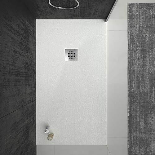 Plato de ducha de Resina VAROBATH ONE Blanco , extraplano, antideslizantes C3 y anti-bacterianos. Incluye válvula. Fabricado en España. (100x120)