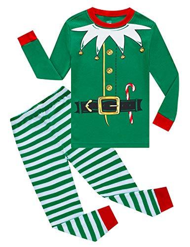 KikizYe Christmas Elf Cosplay Little Girls Boys Pjs 100% Cotton Long Sleeve Kids Pajamas Sets Size 5 Green