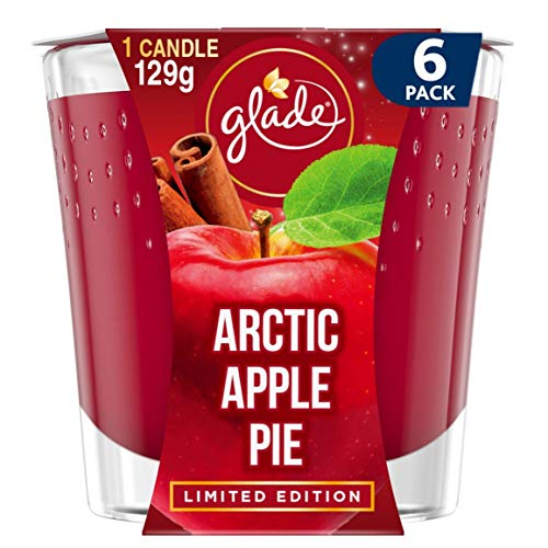 Glade Scented Candle, Air Freshener Wax Candle for Aromatherapy, 129 g, 30 Hour Burn Time, Arctic Apple Pie, 6 Candles