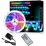 LED Strip Lights, CNSUNWAY LIGHTING 5M Super Bright RGB 24V Color Changing LED Strip Lights with 44 Keys IR Remote Controller for Bedroom Room TV Party Bars Wedding