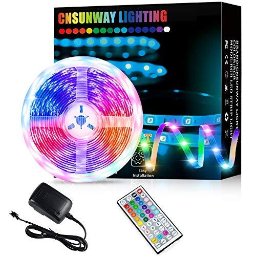 Tira LED RGB 5m, Luces LED 5050 SMD 24V Con 44 Teclas Control Remoto IR Habitación Que Cambian De Color Luz De Ambiente Para el Hogar Dormitorio Habitación TV Coches Fiesta Boda