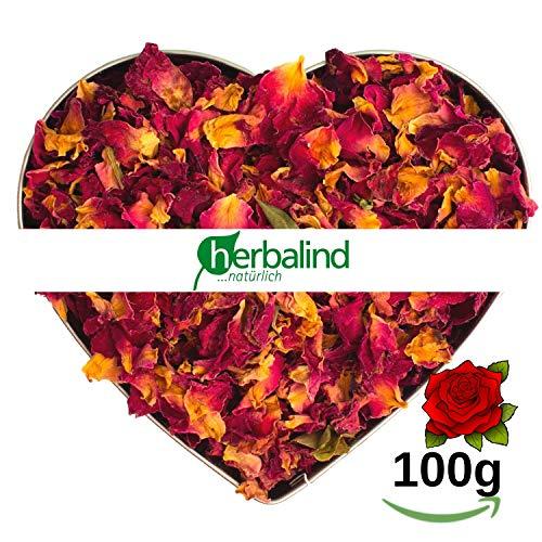 Herbalind 100 g Natur Premium Rosenblätter rot Rosenblüten getrocknet - echte Rosenblütenblätter, geschnitten und duftintensiv, Perfekter Füllstoff zum Füllen von Duftsäckchen, Potpourri Füllung