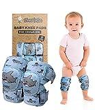 Simply Kids pads rodilla del bebé para el rastreo (2 pares) | protector para el niño, niño, niña, niño ((elección popular) tiburón)