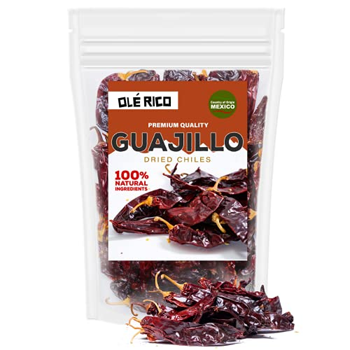 Dried Guajillo Chiles Peppers 4 Oz, Great For Mexican Food, Salsa Medium, Salsa Verde, Mole Sauce, Chili, Stews, Soups, And Tamales - Mild To Medium Heat, Packaged In Resealable Bag By Ole Rico