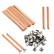 VABNEER Wood Candle Wicks with Iron Stand Sustainer for Handmade DIY Craft Making 13 x 130mm(50 Sets...