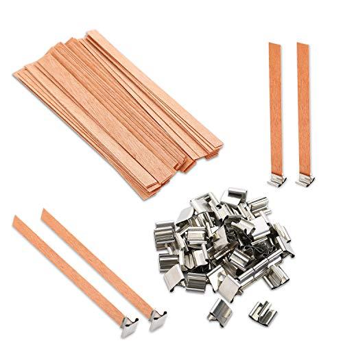 VABNEER Mecha de Madera mechas de velas de madera natural para Fabricación de Vela DIY 13 x 130mm(50 Pcs/set)
