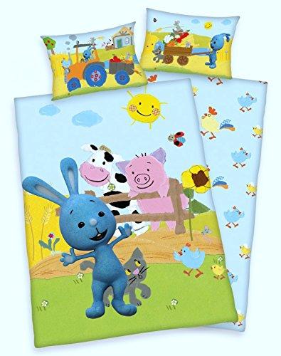 Arle-Living 3 TLG Baby Bettwäsche Set mit Wende Motiv: Kikaninchen Bauernhof - Renforcé 100x135 cm + 40x60 cm + 1 Spannbettlaken 70x140 cm (mit Laken: weiß)