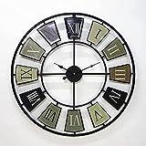 OINDMM Reloj de Pared de Hierro de Hierro Forjado Europeo y Americano de 27 Pulgadas, Reloj de Pared de decoración de Barra de Barra