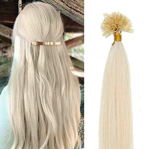 SEGO Pre Bonded U Tip Hair Extensions Human Hair 100 Strands Keratin Fushion Nail Tip Human Hair Extensions 100% Real Remy Hair Silky Straight #60 Platinum Blonde 16 inches 50g