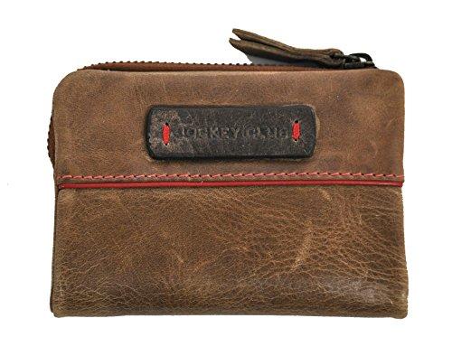 Damen Mini Geldbörse mit RFID Schutz, handgewalktes, gewachstes Rind-Leder Jockey Club Omen of Joy Antik Used Optik Cognac braun mit rotem Keder