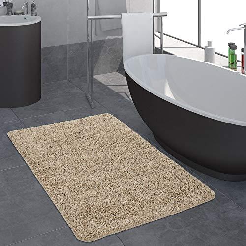 Paco Home Badezimmer Teppich Einfarbig Hochflor rutschfest In Versch. Größen u. Farben, Farbe:Beige, Grösse:50x80 cm