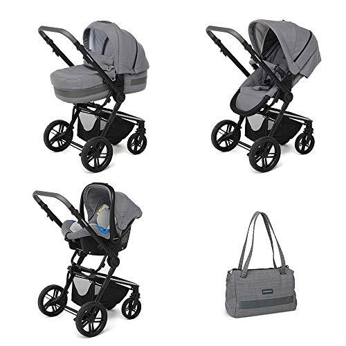Foppapedretti 3Chic Sistema Combinato, con Passeggino, Navicella, Seggiolino Auto e Borsa, per bambini da 6 mesi a 15 kg, Elite Grey
