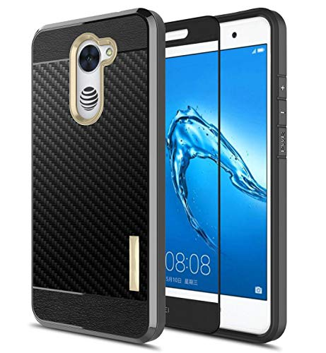 Case for Huawei Ascend XT2 H171,[w/Tempered Glass Screen Protector],Elate 4G/Y7 2017 Carbon Fiber Shock Absorbing Flexible TPU Soft Rugged Rubber Bumper Protective Phone Case Cove(Gold)