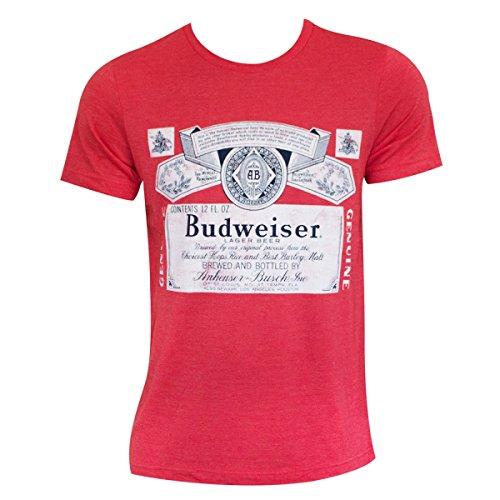 Budweiser Heather Beer Logo Tee Shirt Large Red