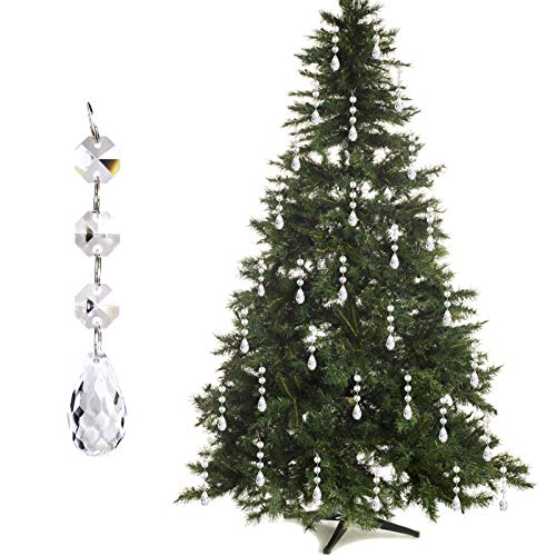 30PCS Christmas Tree Ornaments Acrylic Crystal Pendant, Chandelier Lamp Teardrop Hanging Decorations Curtain Clear Droplet Prism Decor Set for Xmas Wedding Festival Home Party Event