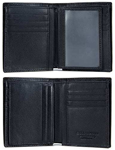 Leather Men Wallet,Genuine Leather RFID Blocking Bifold Wallets with ID Window 3