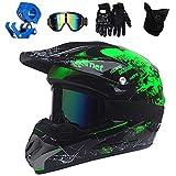 QYTK® Enduro Crosshelm Grün, All Terrain Motocross Downhill Helm Zubehör mit Brille Maske...