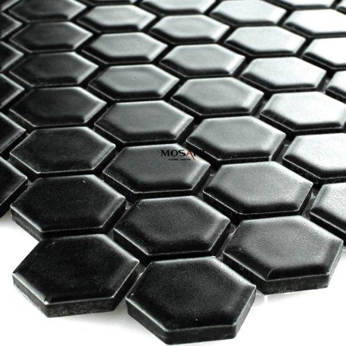 Keramik Mosaik Fliesen Waben Schwarz Matt