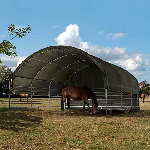 TOOLPORT Robustes Weidezelt 6x6 m feuersicher 720 g/m² PVC Plane Unterstand für Pferde Offenstall Stall, für Betonboden, grün - 3