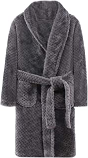 Kids & Adult Fluffy Dressing Gown Thick Robe with Pockets and Belt