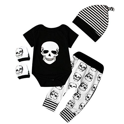 Juego de ropa de bebé para recién nacido (body, pantalones, gorro, manoplas) con diseño de calavera de Halloween Black+White Talla:6-12 meses