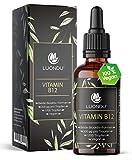 Vitamin B12 Tropfen 200 µg - 50ml Vegan (1700 Tropfen) B12 Vitamin beiden Aktivformen Adenosyl- & Methylcobalamin I Alternative zu B12 Tabletten & Kapseln, Hergestellt in DE